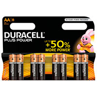 AA batterier (Alkaline) Duracell Plus Power - 8-Pack