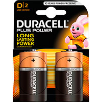 D batterier (Alkaline) Duracell Plus Power - 2-Pack