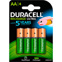 Duracell genopladelige AA batterier (2400mAh) 4-Pack