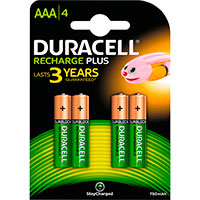 Duracell genopladelige AAA batterier (750mAh) 4-Pack
