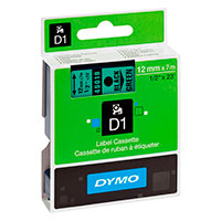 Dymo D1 tape 12mm - Sort på Grøn tape - 7m (Original)