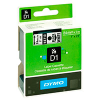 Dymo D1 tape 24mm - Sort på Hvid tape - 7m (Original)