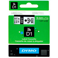 Dymo D1 tape 6mm - Sort på Hvid tape - 7m (Original)