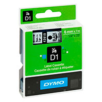 Dymo D1 tape 6mm - Sort på Transparent tape - 7m (Original)