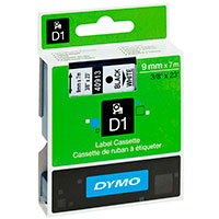 Dymo D1 tape 9mm - Sort på Hvid tape - 7m (Original)