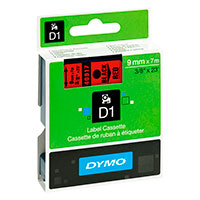 Dymo D1 tape 9mm - Sort på Rød tape - 7m (Original)