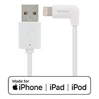 Lightning kabel - 1m m/1x vinkel (Apple MFi) Deltaco