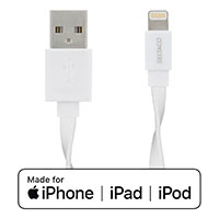 Lightning kabel - 1m flad kabel (Apple MFi) Deltaco