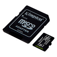 Micro SDXC Kort 256GB V30 A1 m/adapter (UHS-I) Kingston