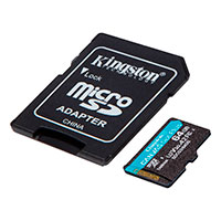 Micro SDXC kort 64GB A2 V30 m/adapter (UHS-3) Kingston
