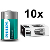 Philips Industrial D batterier (Alkaline) 10-Pack