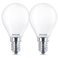 Philips Krone LED pære E14 Mat - 4,3W (40W) 2-Pack