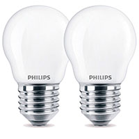 Philips Krone LED pære E27 Mat - 4,3W (40W) 2-Pack