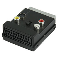 Scart adapter med switch - Vinkelt Phono