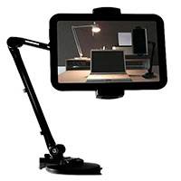 Tablet/Smartphone holder m/bordklemme/2 led (4-12,2tm) Sort
