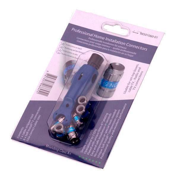Cablecon kit med værktøj og 6 stk F-Connector