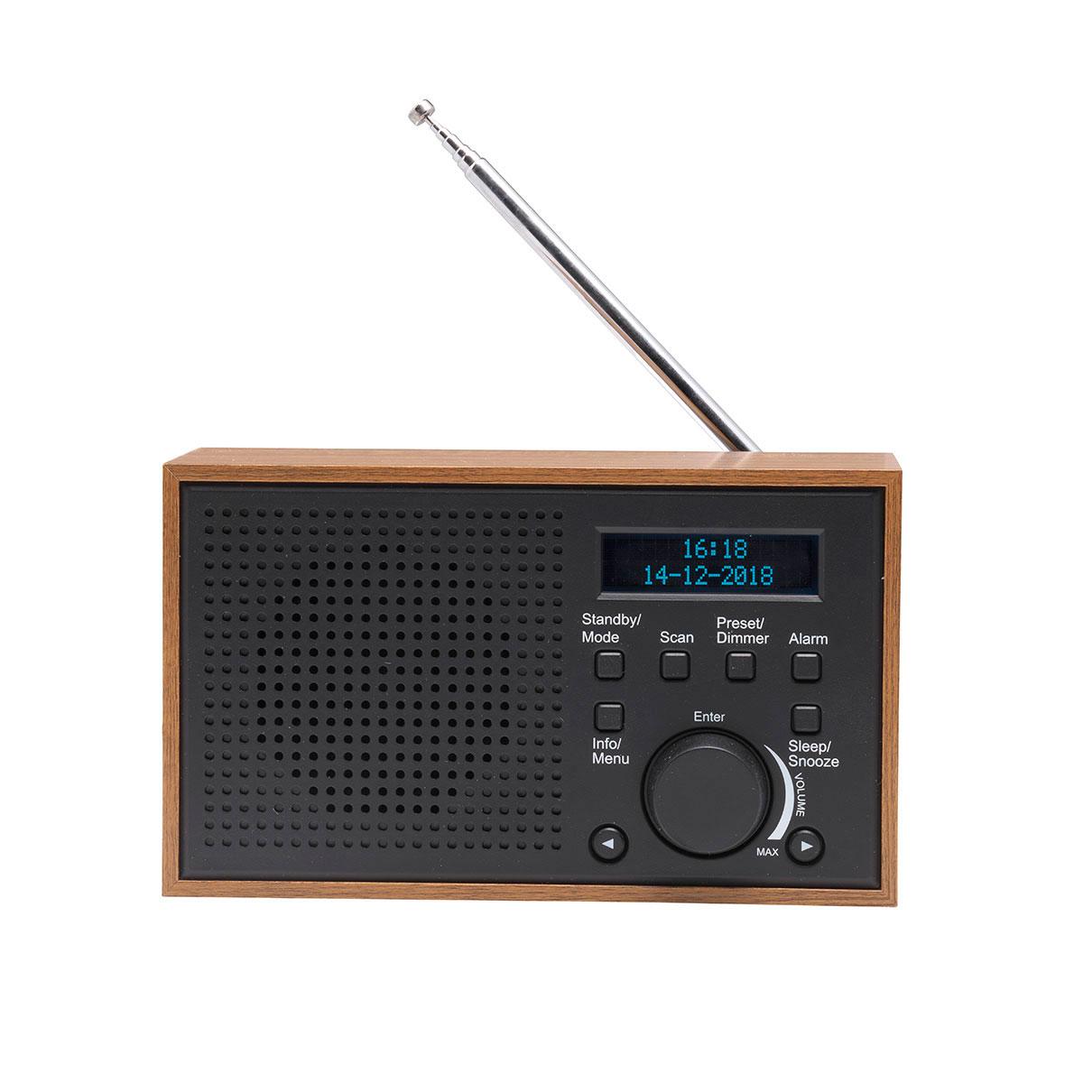 Fantastisk DAB+ radio i trækabinet (alarm/FM) Mørkegrå - Denver DAB-46 ZT94